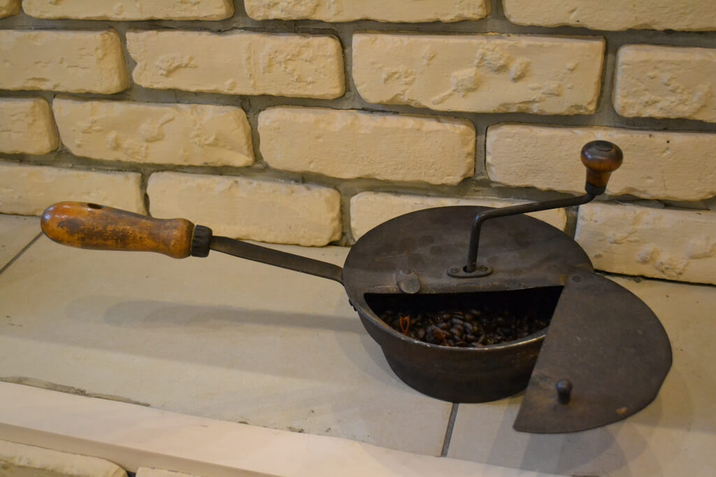 An antique device for coffee roasting