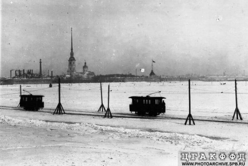A tram line built across the Neva river