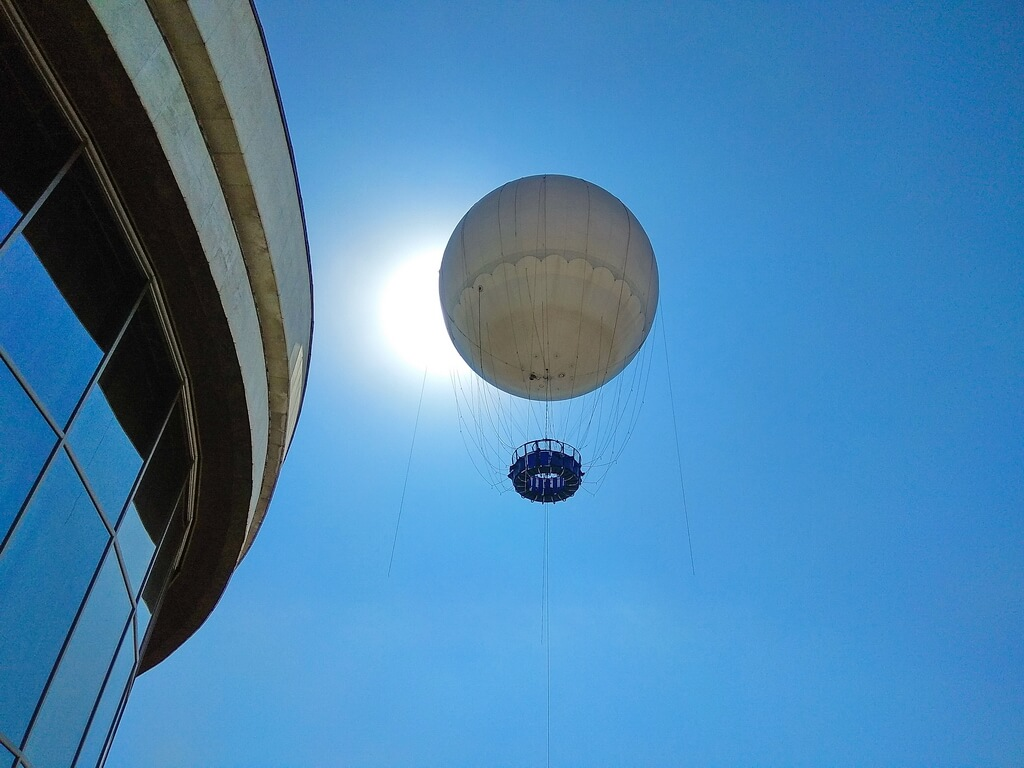 The balloon is floating