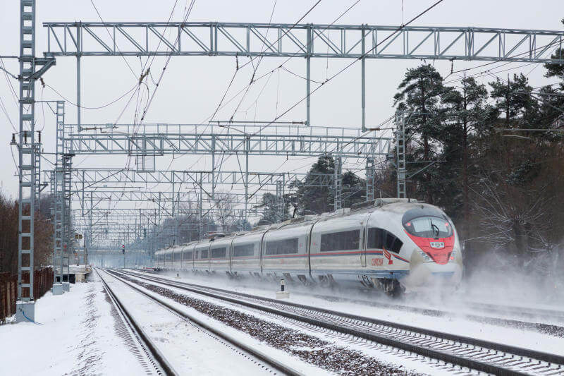 The train is adapted to the severe Russian winters