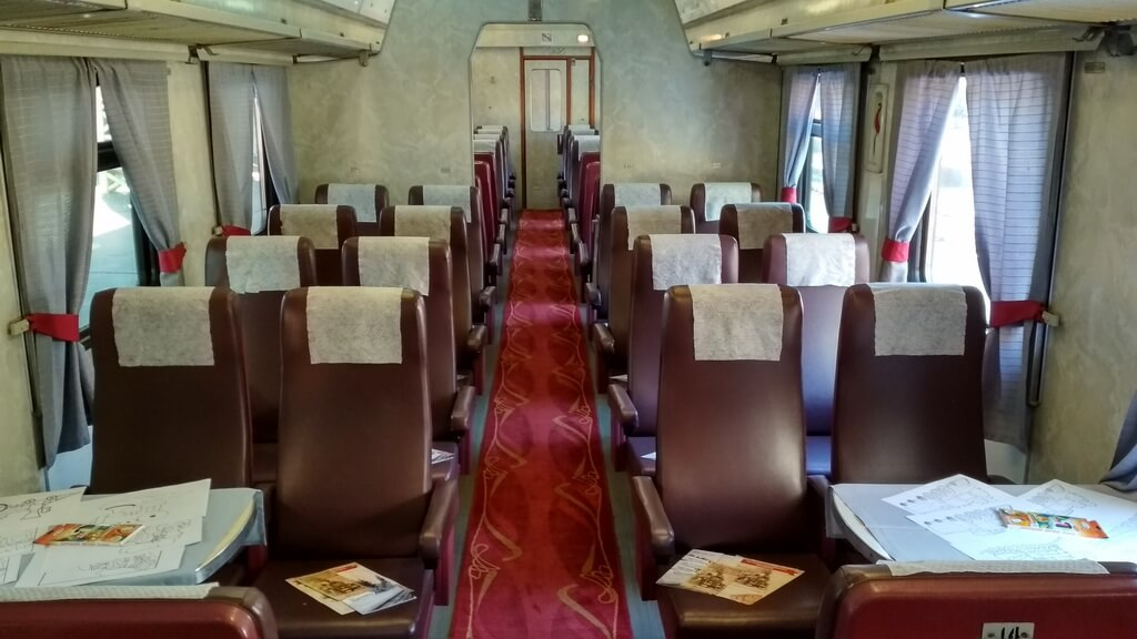 Inside the train car