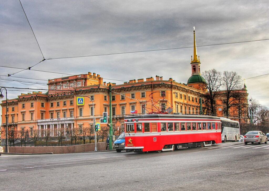 Tourist tram in St Petersburg